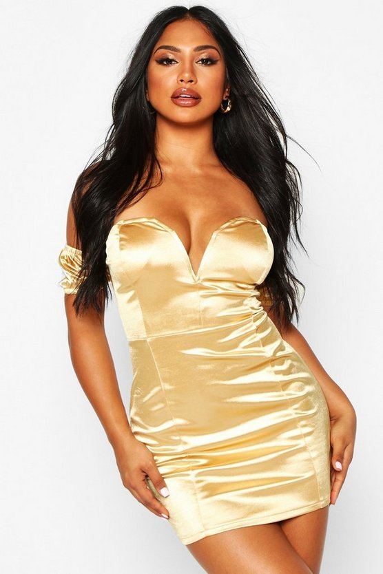 Womens Gold Stretch Satin Plunge V Bar Mini Dress