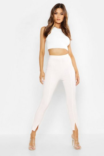 Womens Blush Seam Front Split Tailored Leggings