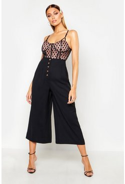 Womens Black Button Front Tailored Pleated Culottes