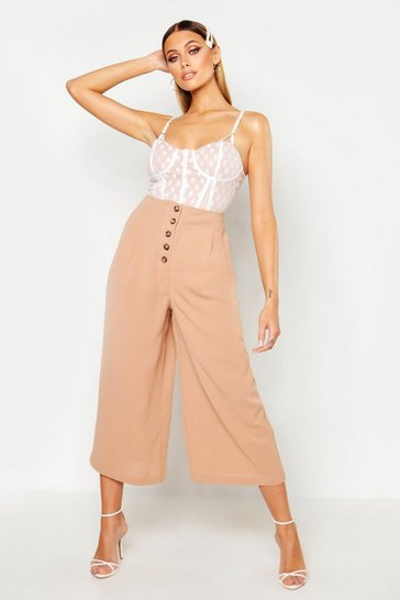 Womens Camel Button Front Tailored Pleated Culottes