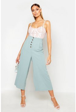 Womens Sage Button Front Tailored Pleated Culottes