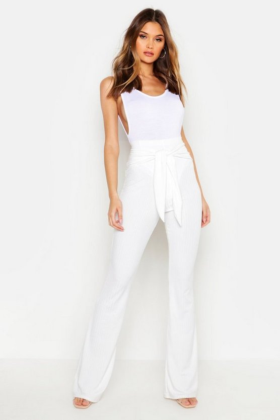 Ivory Tie Front Ribbed Wide Leg Trousers
