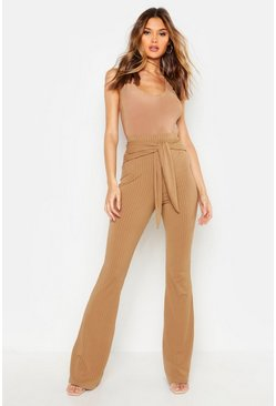 Stone Tie Front Ribbed Wide Leg Trousers