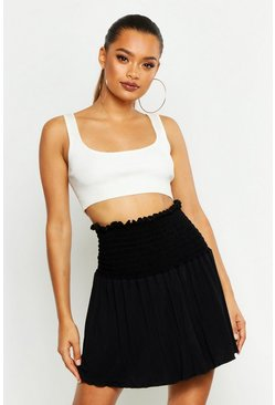 Womens Black Shirred Skater Mini Skirt