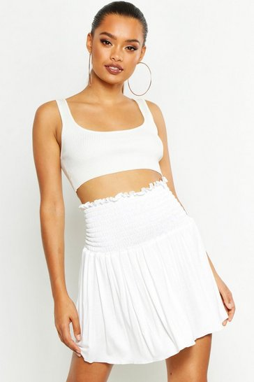 Womens Ivory Shirred Skater Mini Skirt