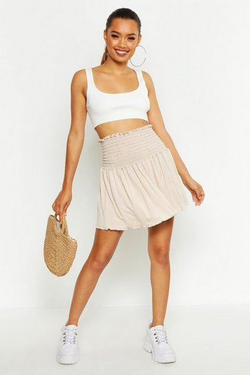 Womens Stone Shirred Skater Mini Skirt