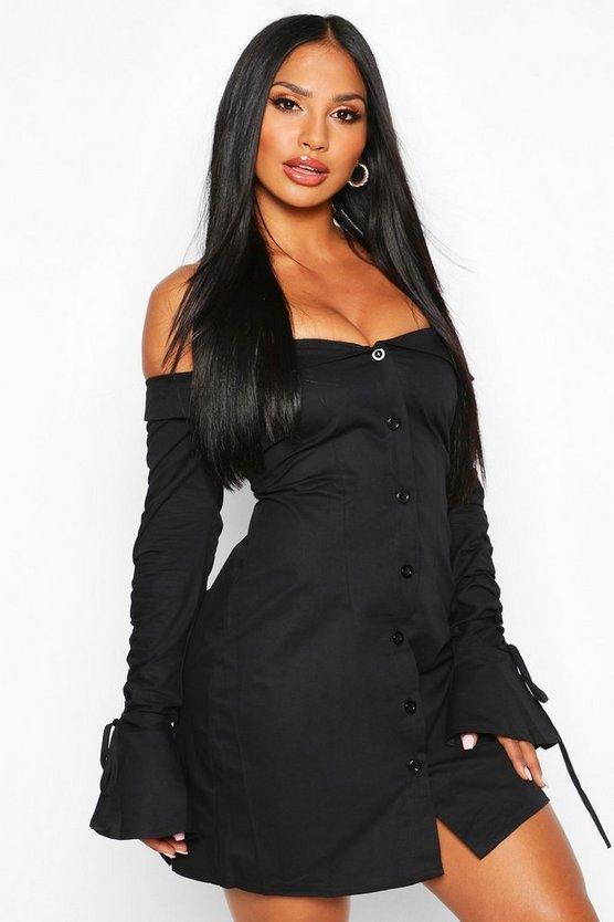 Off The Shoulder Ruched Sleeve Blazer Dress