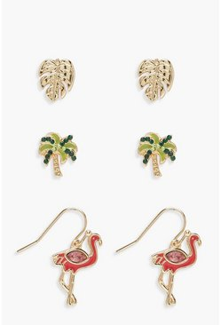 Womens Multi Flamingo & Palm Tree Stud Set