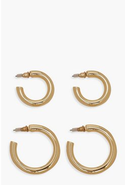 Womens Real Gold Plated Hoop 2 Pack