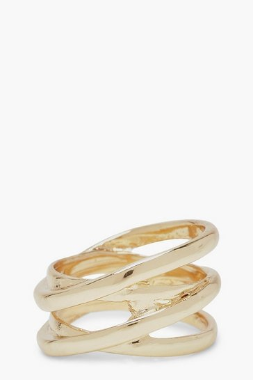 Womens Gold Twisted Band Simple Ring