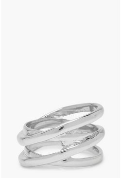 Womens Silver Twisted Band Simple Ring