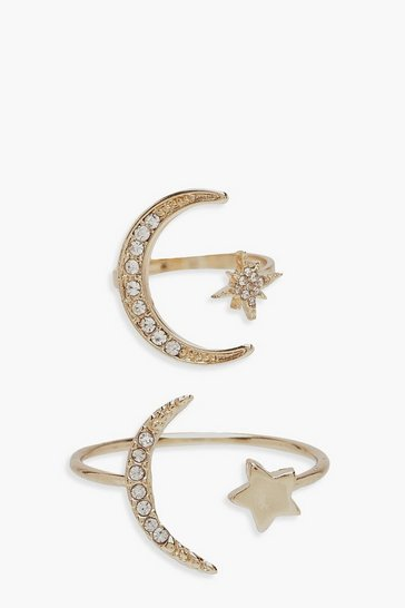 Womens Gold Cosmic Stackable Ring Set