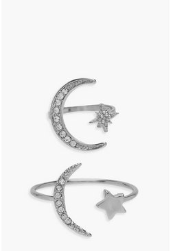 Womens Silver Cosmic Stackable Ring Set