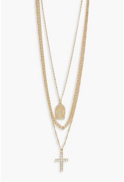 Womens Gold Diamante Cross & Sovereign Layered Necklace