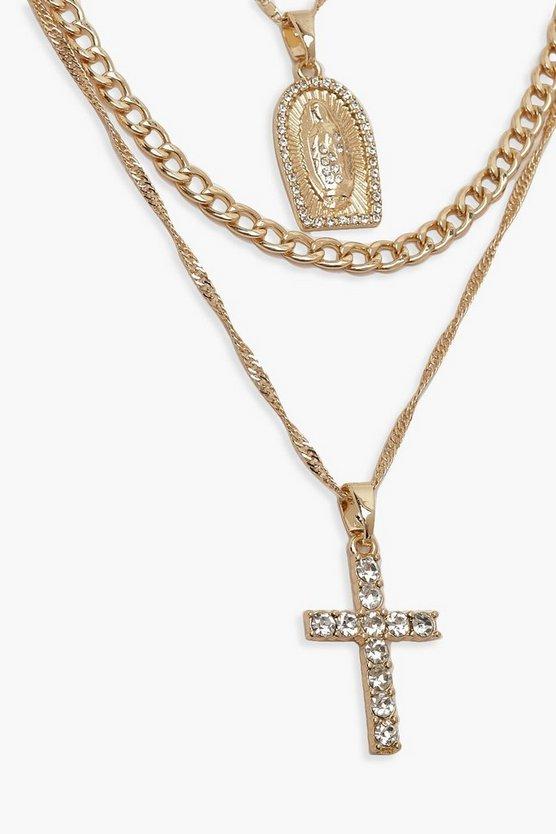 Diamante Cross & Sovereign Layered Necklace