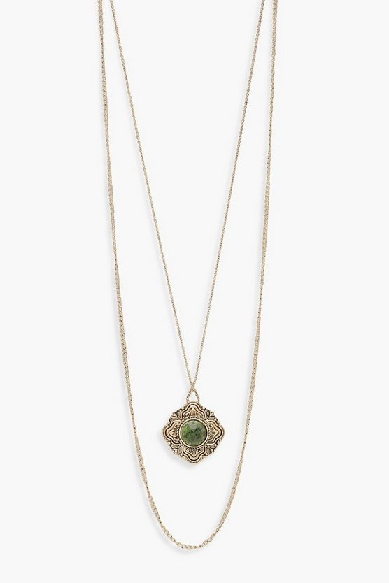 Gold Vintage Look Green Stone Layered Necklace