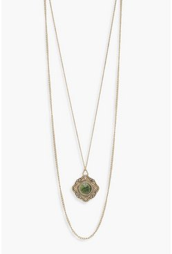 Womens Gold Vintage Look Green Stone Layered Necklace