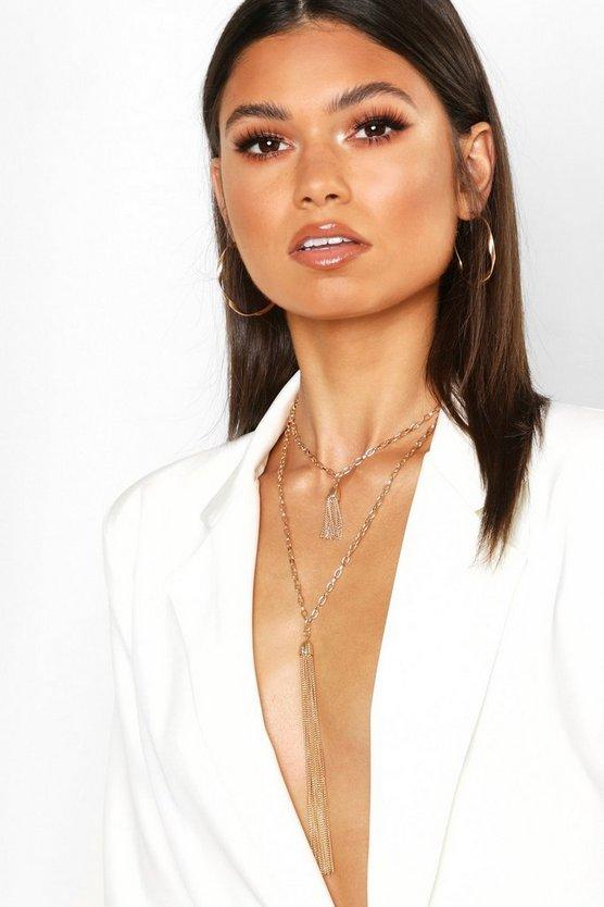 Double Metal Tassel Statement Necklace