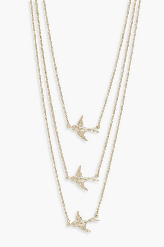 Womens Gold Simple Three Swallows Necklace