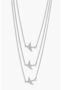 Womens Silver Simple Three Swallows Necklace