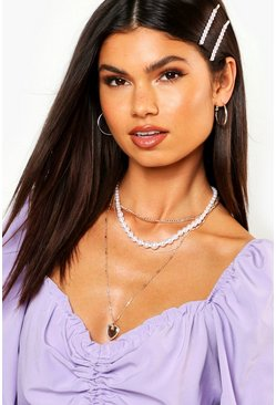 Womens Gold Heart & Pearl Layered Necklace