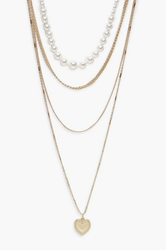 Heart & Pearl Layered Necklace