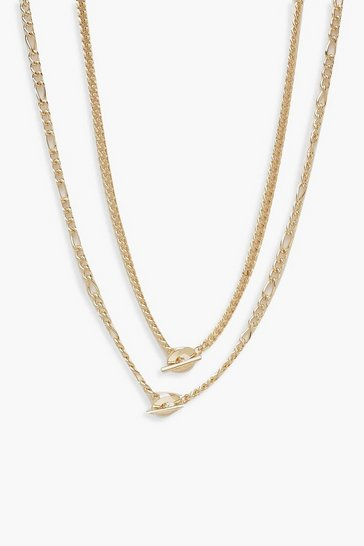 Womens Gold Double Chain T-Bar Necklace