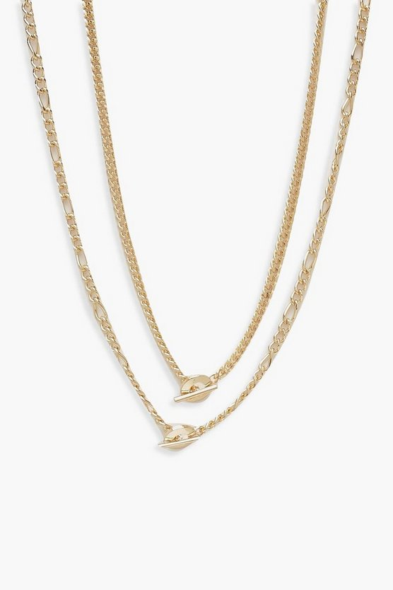 Double Chain T-Bar Necklace