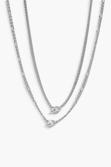 Womens Silver Double Chain T-Bar Necklace