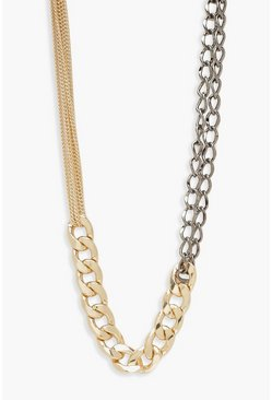 Womens Multi Mixed Metal & Size Chunky Chain Necklace