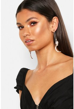 Womens Gold Sun & Moon Diamante Drop Earrings