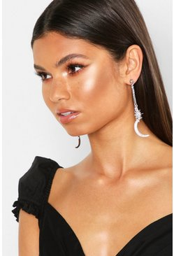 Womens Silver Sun & Moon Diamante Drop Earrings