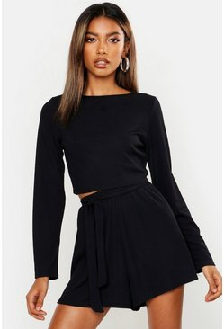 Womens Black Long Sleeve Top & Belted Short Rib Co-Ord