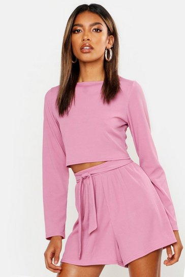 Womens Mauve Long Sleeve Top & Belted Short Rib Co-Ord