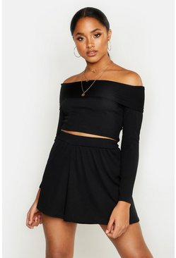 Womens Black Off The Shoulder Top & Short Rib Co-Ord