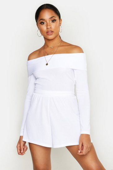 Womens Ivory Off The Shoulder Top & Short Rib Co-Ord