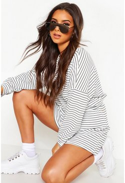 Womens White Stripe Oversize T-Shirt & Short Rib Co-Ord