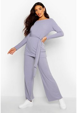 Womens Grey Belted Top & Wide Leg Trouser Rib Co-Ord