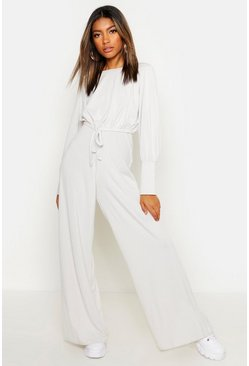Womens Ecru Rib Drawcord Top & Wide Leg Pants Co-Ord