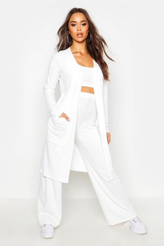 Ivory 3 Piece Wide Leg Top & Duster Rib Co-Ord