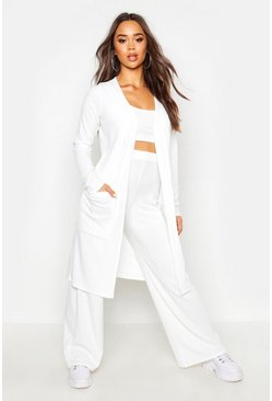 Womens Ivory 3 Piece Wide Leg Top & Duster Rib Co-Ord