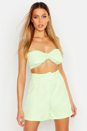 Womens Lime Tie Front Bandeau & Tailored Short Co-Ord