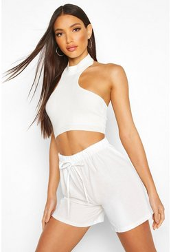 Womens Ivory Linen Drawcord Shorts