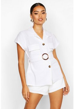 Womens Ivory Linen Utility Pocket Belted Shirt