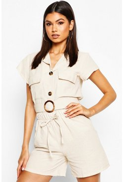 Womens Stone Linen Utility Pocket Belted Shirt