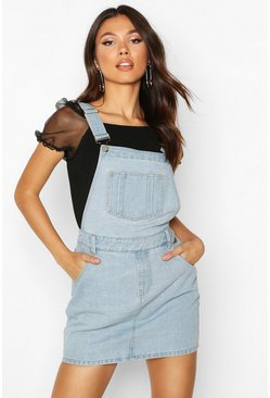 Womens Light blue Denim Dungaree Pinafore Dress