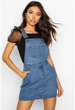 Mid blue Denim Dungaree Pinafore Dress
