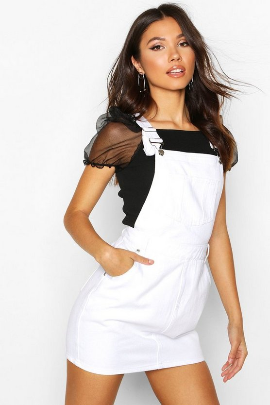 White Denim Dungaree Pinafore Dress