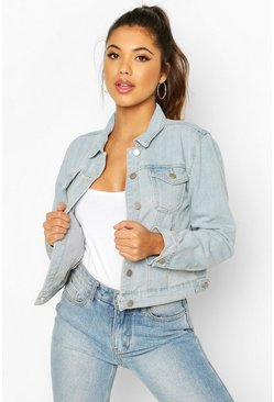 Light blue Crop Denim Jacket