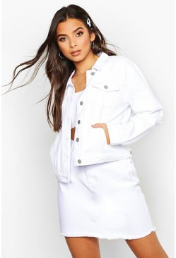 Womens White Crop Denim Jacket